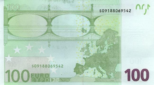 100 евро - оборотная сторона