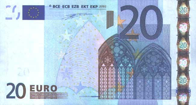 20 евро - лицевая сторона