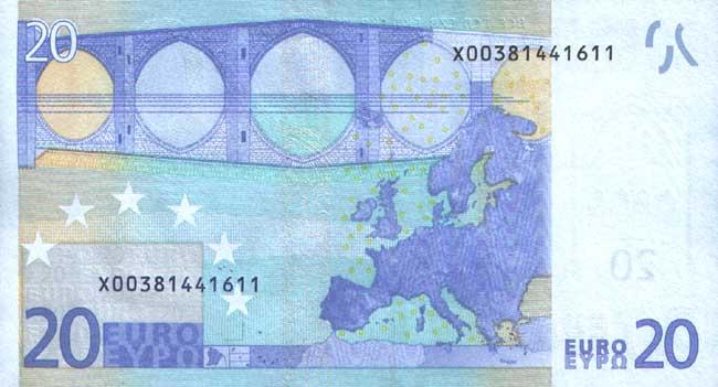 20 евро- оборотная сторона