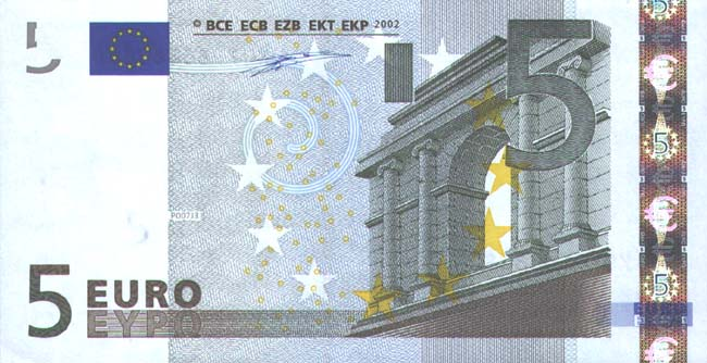 5 евро- лицевая сторона